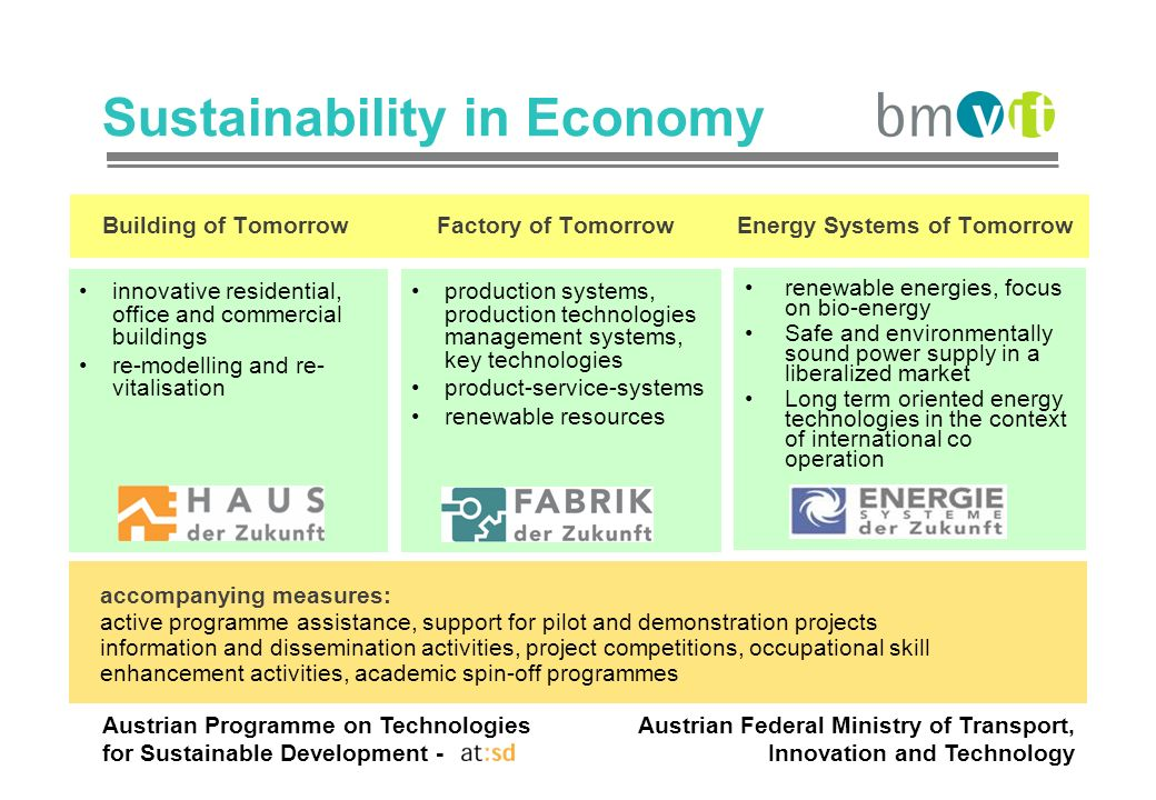 Austrian Programme on Technologies for Sustainable Development - Austrian Federal Ministry of Transport, Innovation and Technology Sustainability in E