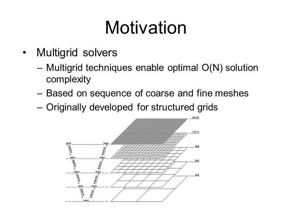 Multigrid solvers –Multigrid techniques enable optimal O(N) solution complexity –Based on sequence of coarse and fine meshes –Originally developed for