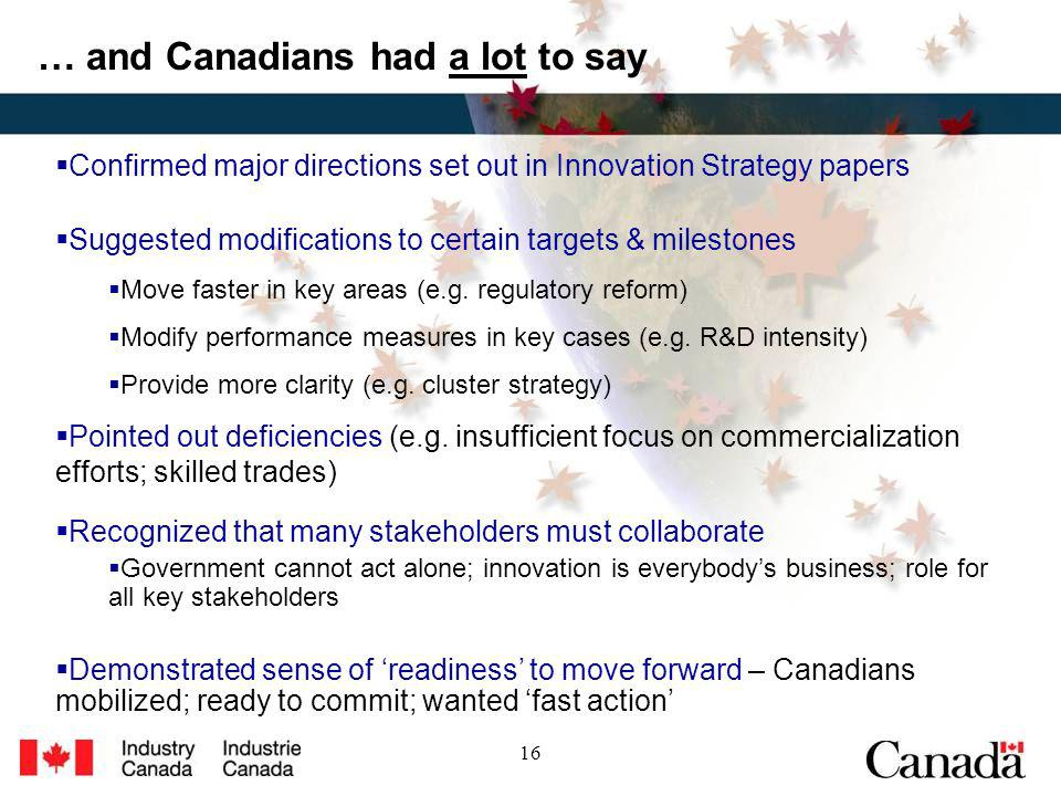 16 … and Canadians had a lot to say Confirmed major directions set out in Innovation Strategy papers Suggested modifications to certain targets & milestones Move faster in key areas (e.g.