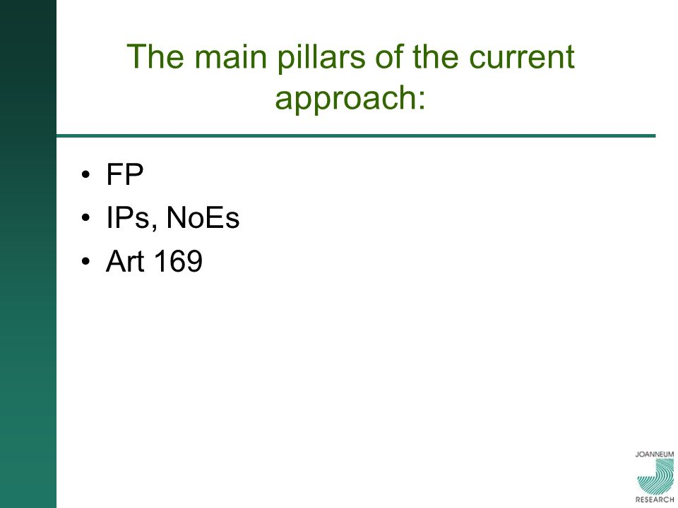 The main pillars of the current approach: FP IPs, NoEs Art 169