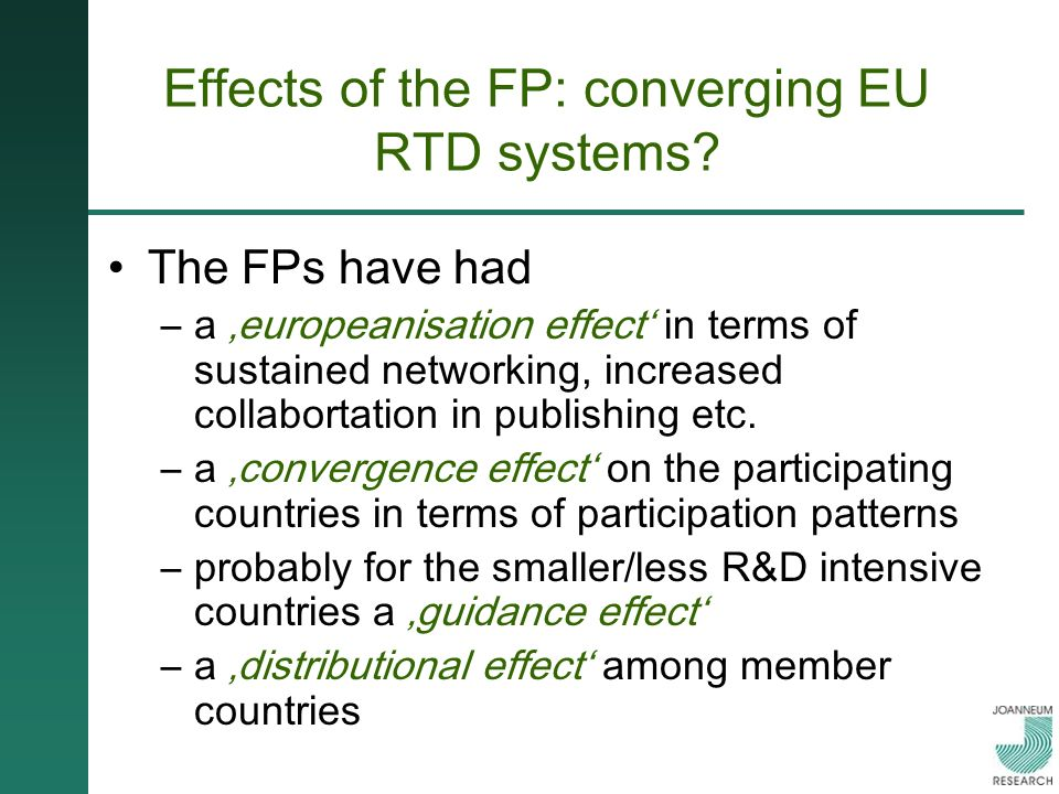 Effects of the FP: converging EU RTD systems.