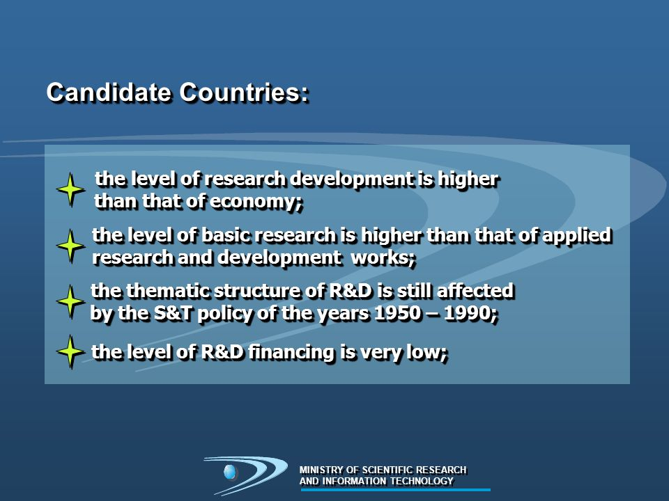 MINISTRY OF SCIENTIFIC RESEARCH AND INFORMATION TECHNOLOGY MINISTRY OF SCIENTIFIC RESEARCH AND INFORMATION TECHNOLOGY Candidate Countries: the level of research development is higher the level of research development is higher than that of economy; than that of economy; the level of research development is higher the level of research development is higher than that of economy; than that of economy; the level of basic research is higher than that of applied the level of basic research is higher than that of applied research and development works; research and development works; the level of basic research is higher than that of applied the level of basic research is higher than that of applied research and development works; research and development works; the thematic structure of R&D is still affected the thematic structure of R&D is still affected by the S&T policy of the years 1950 – 1990; by the S&T policy of the years 1950 – 1990; the thematic structure of R&D is still affected the thematic structure of R&D is still affected by the S&T policy of the years 1950 – 1990; by the S&T policy of the years 1950 – 1990; the level of R&D financing is very low; the level of R&D financing is very low;