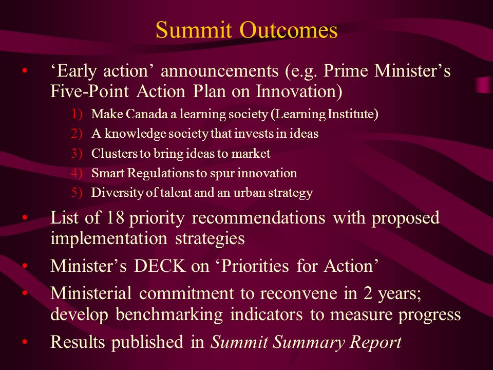 Summit Outcomes Early action announcements (e.g.
