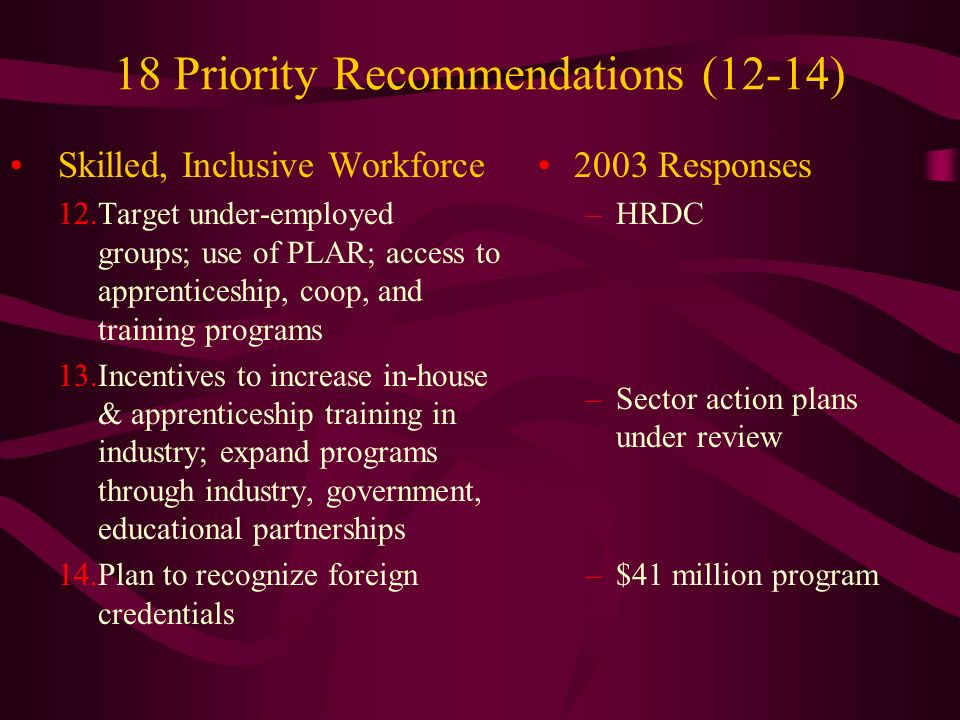 18 Priority Recommendations (12-14) Skilled, Inclusive Workforce 12.Target under-employed groups; use of PLAR; access to apprenticeship, coop, and training programs 13.Incentives to increase in-house & apprenticeship training in industry; expand programs through industry, government, educational partnerships 14.Plan to recognize foreign credentials 2003 Responses –HRDC –Sector action plans under review –$41 million program
