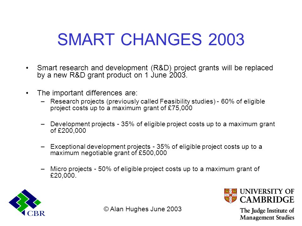 SMART CHANGES 2003 Smart research and development (R&D) project grants will be replaced by a new R&D grant product on 1 June 2003. The important diffe