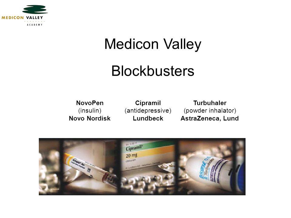 Medicon Valley Blockbusters Cipramil (antidepressive) Lundbeck NovoPen (insulin) Novo Nordisk Turbuhaler (powder inhalator) AstraZeneca, Lund