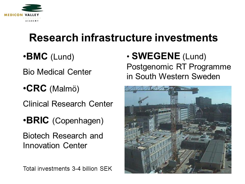 Research infrastructure investments BMC (Lund) Bio Medical Center CRC (Malmö) Clinical Research Center BRIC (Copenhagen) Biotech Research and Innovation Center Total investments 3-4 billion SEK SWEGENE (Lund) Postgenomic RT Programme in South Western Sweden