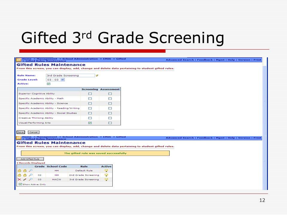 12 Gifted 3 rd Grade Screening