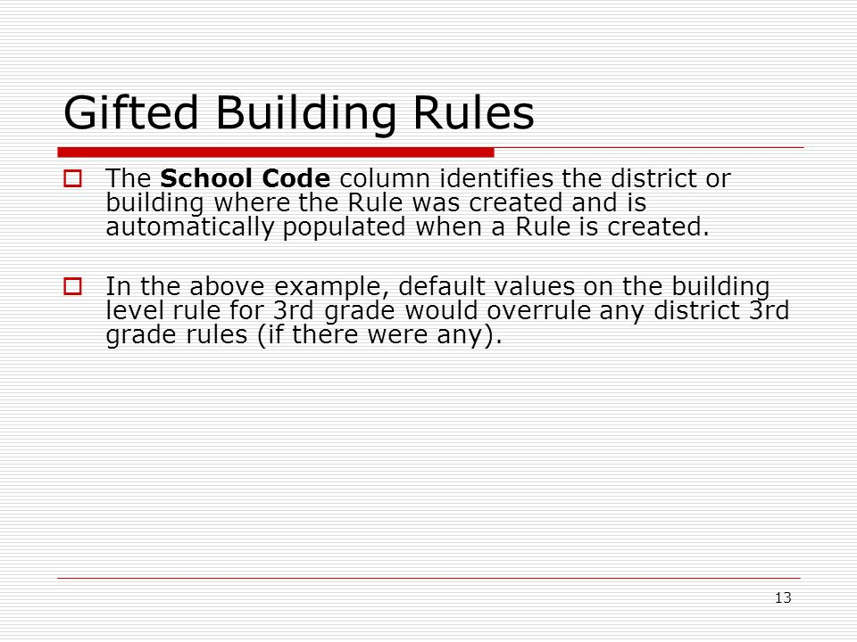 13 Gifted Building Rules The School Code column identifies the district or building where the Rule was created and is automatically populated when a R