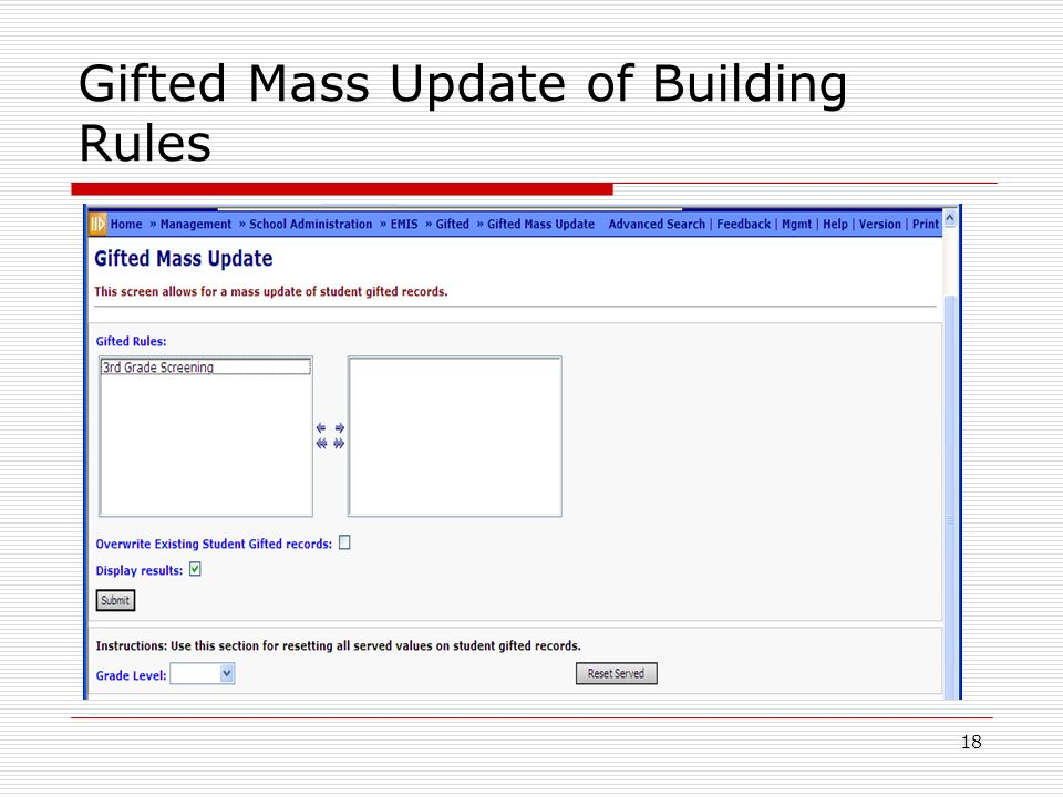 18 Gifted Mass Update of Building Rules