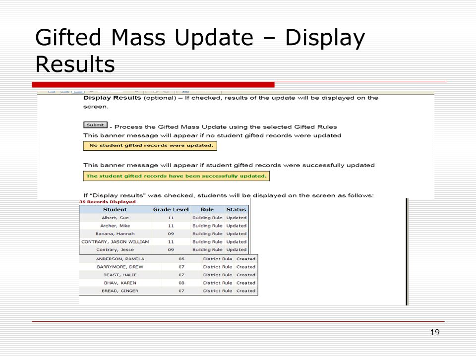 19 Gifted Mass Update – Display Results
