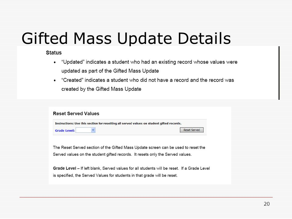 20 Gifted Mass Update Details