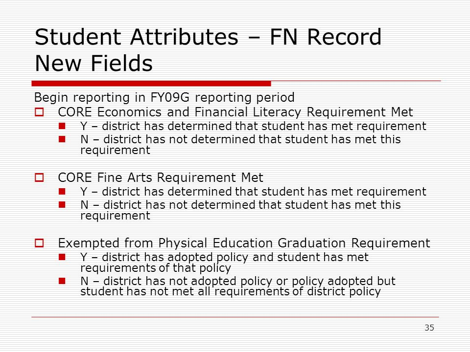 35 Student Attributes – FN Record New Fields Begin reporting in FY09G reporting period CORE Economics and Financial Literacy Requirement Met Y – distr