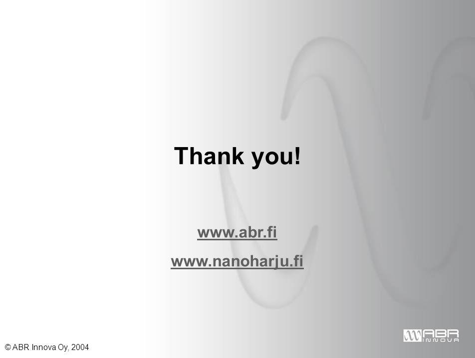 © ABR Innova Oy, 2004 Thank you! www.abr.fi www.nanoharju.fi