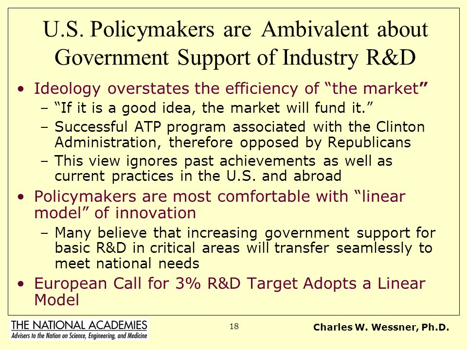 Charles W. Wessner, Ph.D. 18 U.S. Policymakers are Ambivalent about Government Support of Industry R&D Ideology overstates the efficiency of the marke