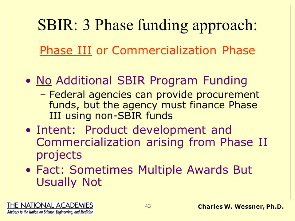 Charles W. Wessner, Ph.D. 43 SBIR: 3 Phase funding approach: Phase III or Commercialization Phase No Additional SBIR Program Funding –Federal agencies