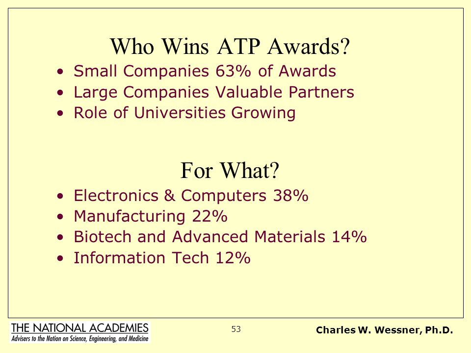 Charles W.Wessner, Ph.D. 53 Who Wins ATP Awards.