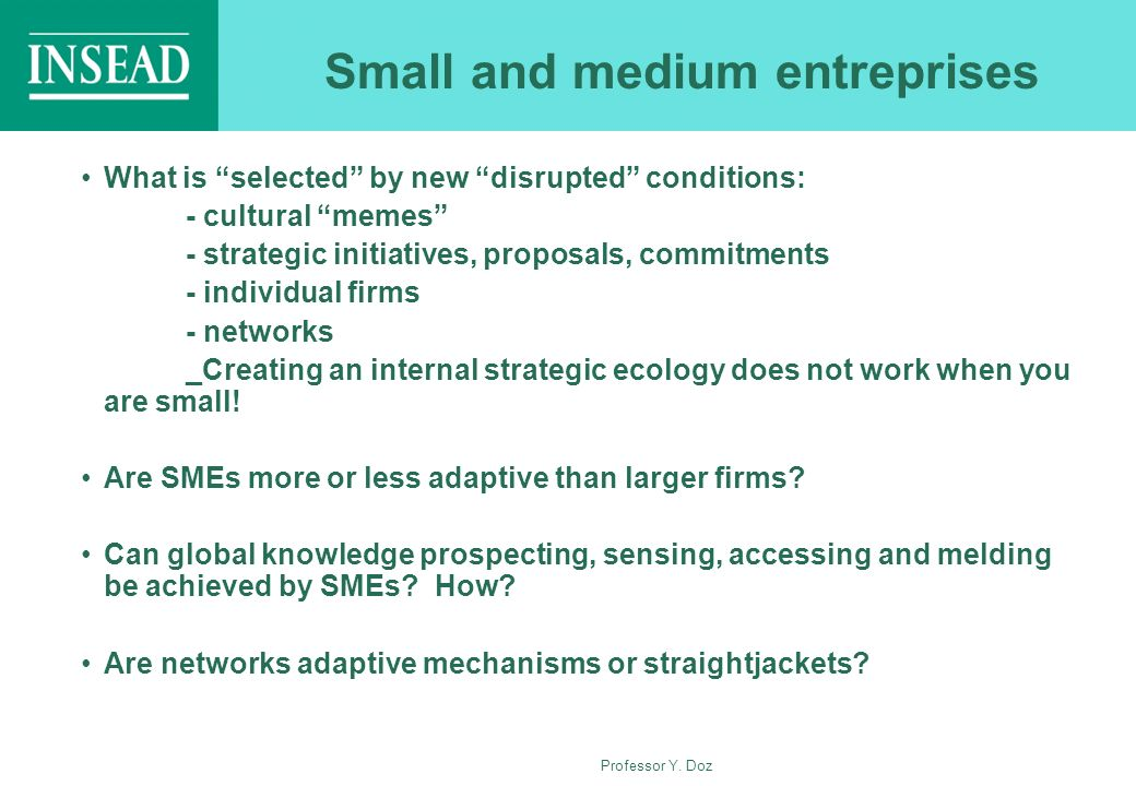 Professor Y. Doz Small and medium entreprises What is selected by new disrupted conditions: - cultural memes - strategic initiatives, proposals, commi