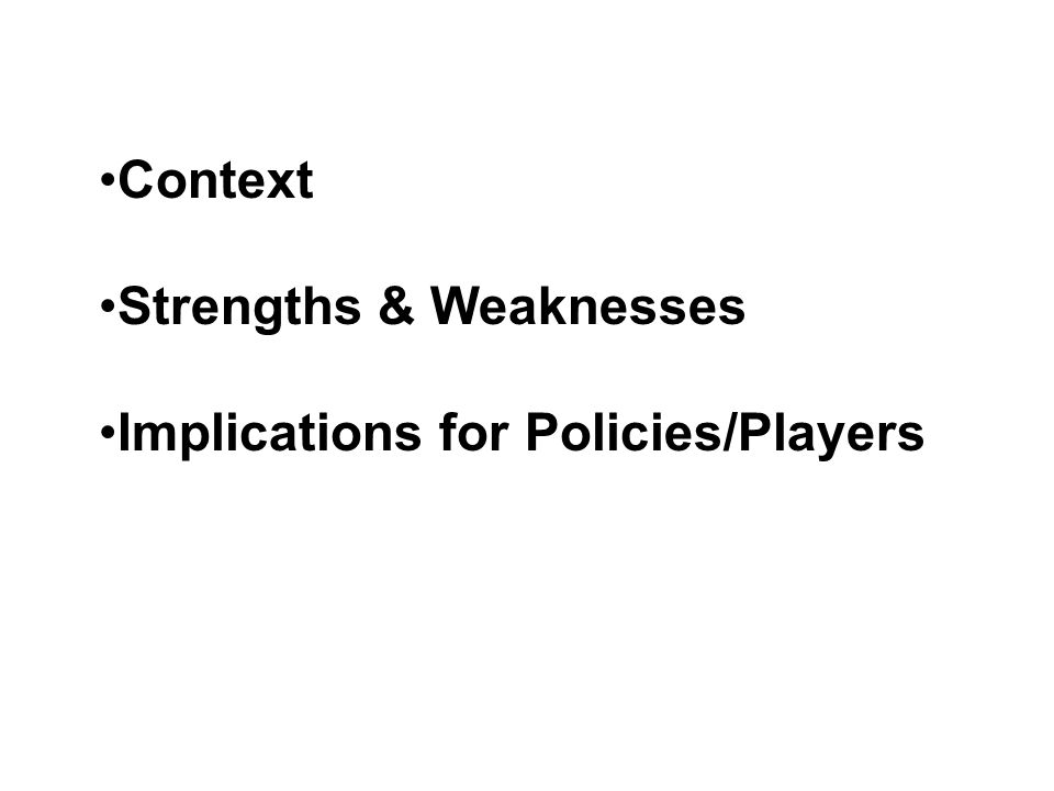 Context Strengths & Weaknesses Implications for Policies/Players