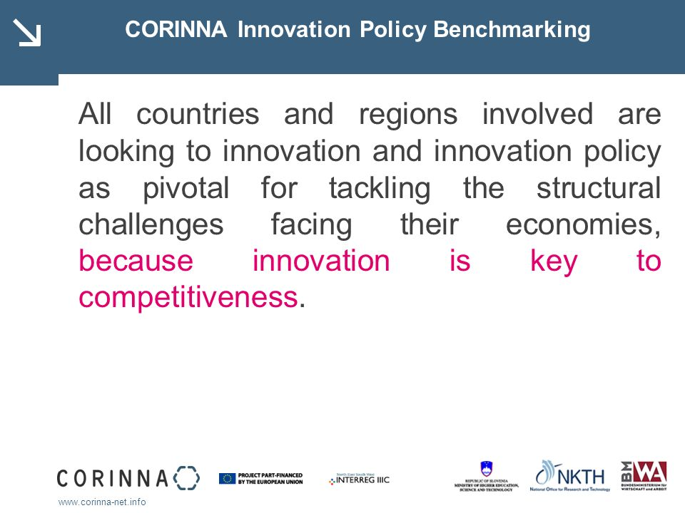 CORINNA Innovation Policy Benchmarking All countries and regions involved are looking to innovation and innovation policy as pivotal for tackling the