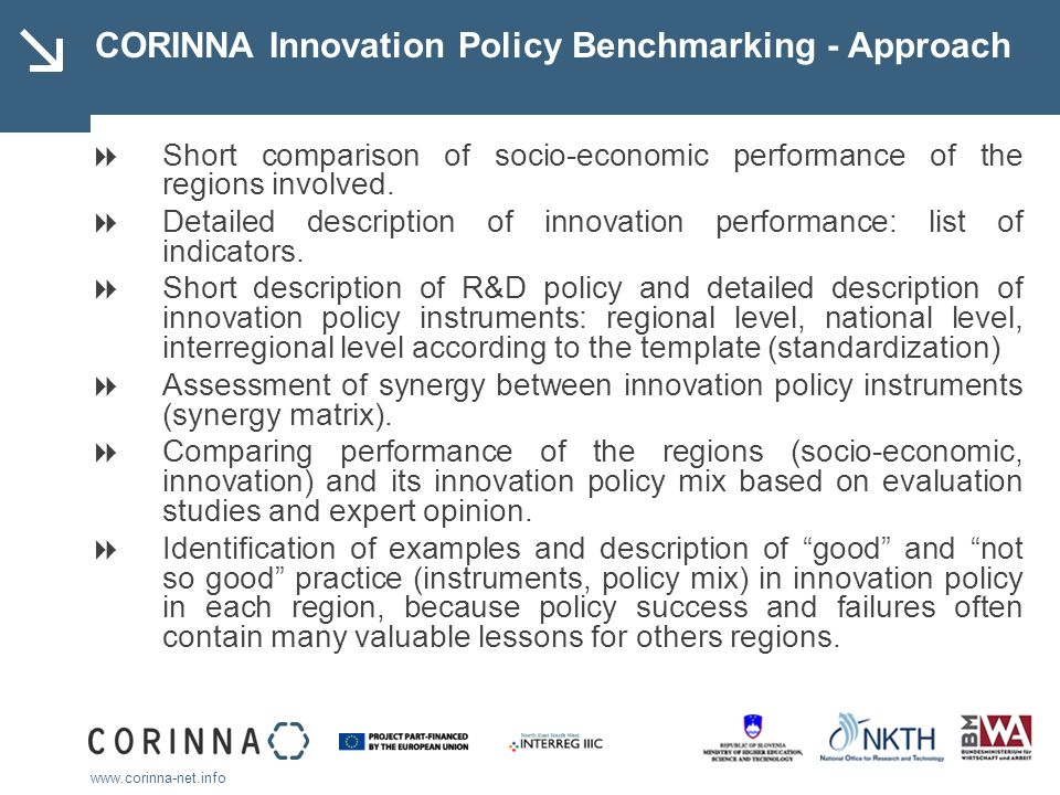 www.corinna-net.info CORINNA Innovation Policy Benchmarking - Approach Short comparison of socio-economic performance of the regions involved.