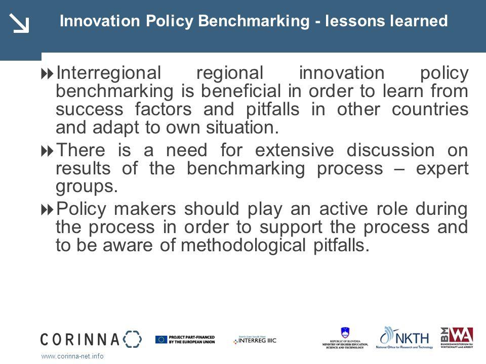 www.corinna-net.info Innovation Policy Benchmarking - lessons learned Interregional regional innovation policy benchmarking is beneficial in order to
