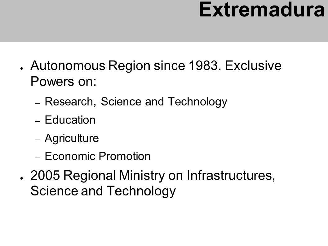 Autonomous Region since 1983. Exclusive Powers on: – Research, Science and Technology – Education – Agriculture – Economic Promotion 2005 Regional Min