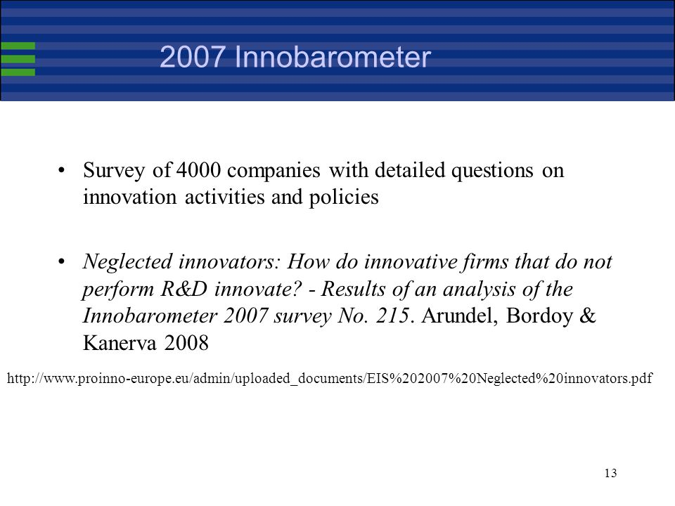 Innobarometer Survey of 4000 companies with detailed questions on innovation activities and policies Neglected innovators: How do innovative firms that do not perform R&D innovate.