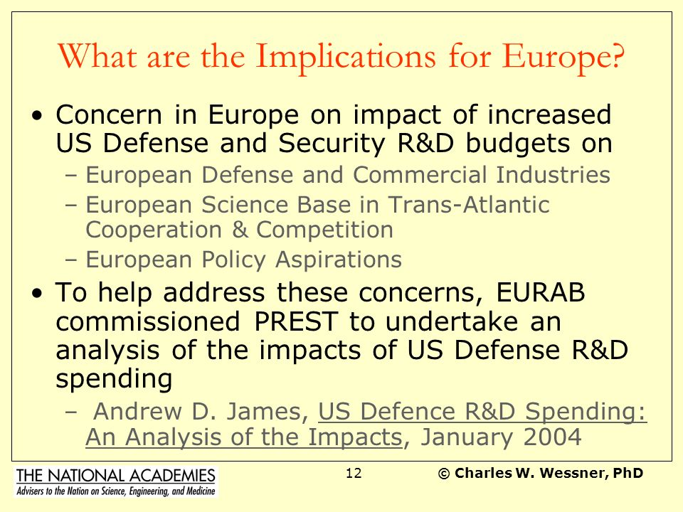 © Charles W. Wessner, PhD11 Current Trends are Troubling: Presidents Proposed Cuts in the R&D Budget for FY2005 $660M cut from Basic and Applied Resea