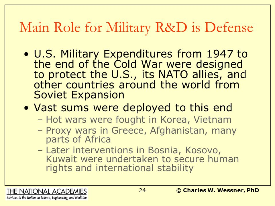© Charles W.Wessner, PhD23 The Myth of Military Spin-Offs Euro Myth: U.S.
