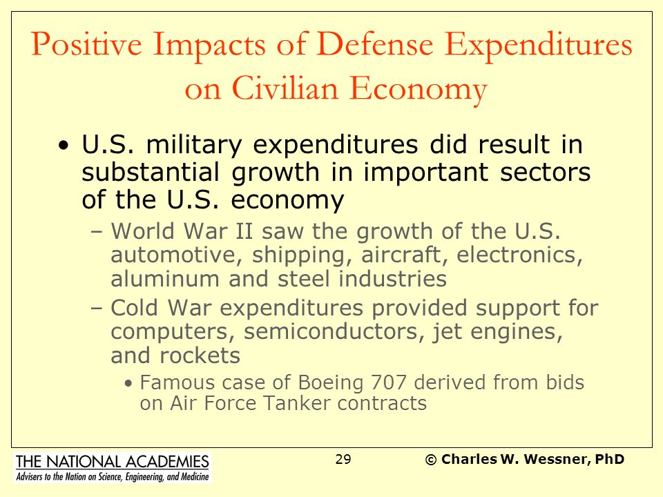 © Charles W.Wessner, PhD28 Positive Impacts of Military Expenditure Air power: The U.S.