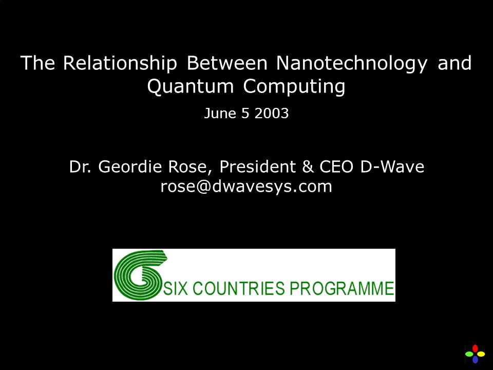 The Relationship Between Nanotechnology and Quantum Computing June 5 2003 Dr.