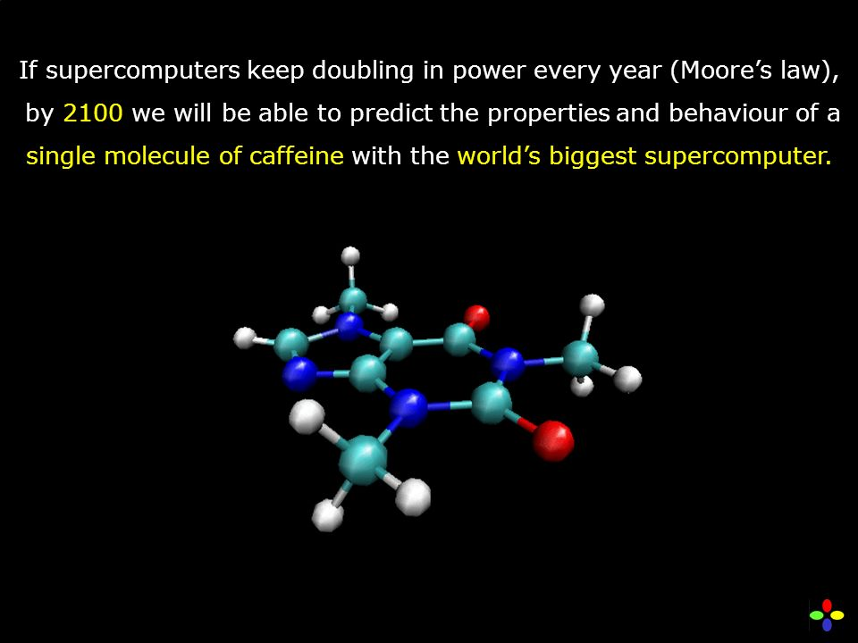 If supercomputers keep doubling in power every year (Moores law), by 2100 we will be able to predict the properties and behaviour of a single molecule of caffeine with the worlds biggest supercomputer.