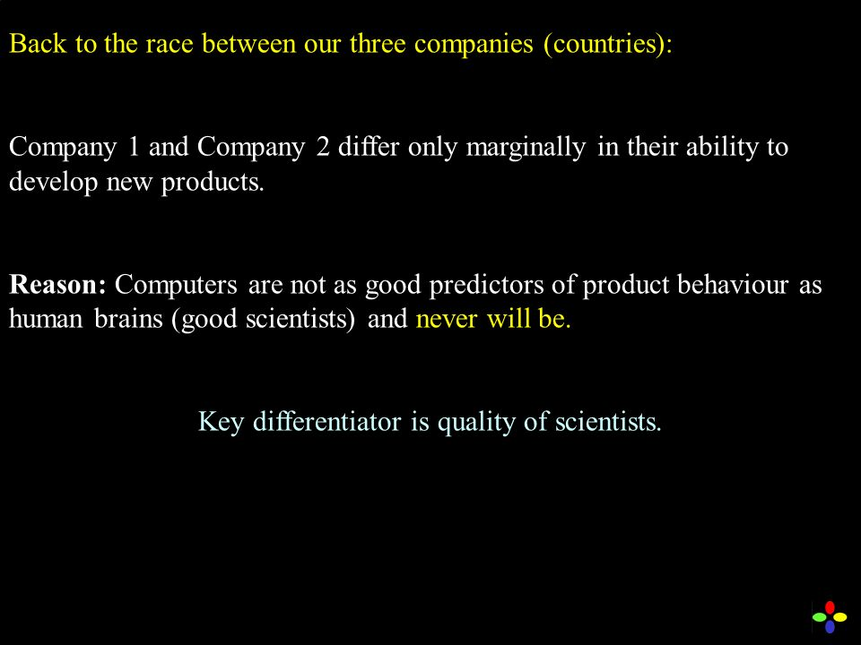 Back to the race between our three companies (countries): Company 1 and Company 2 differ only marginally in their ability to develop new products.