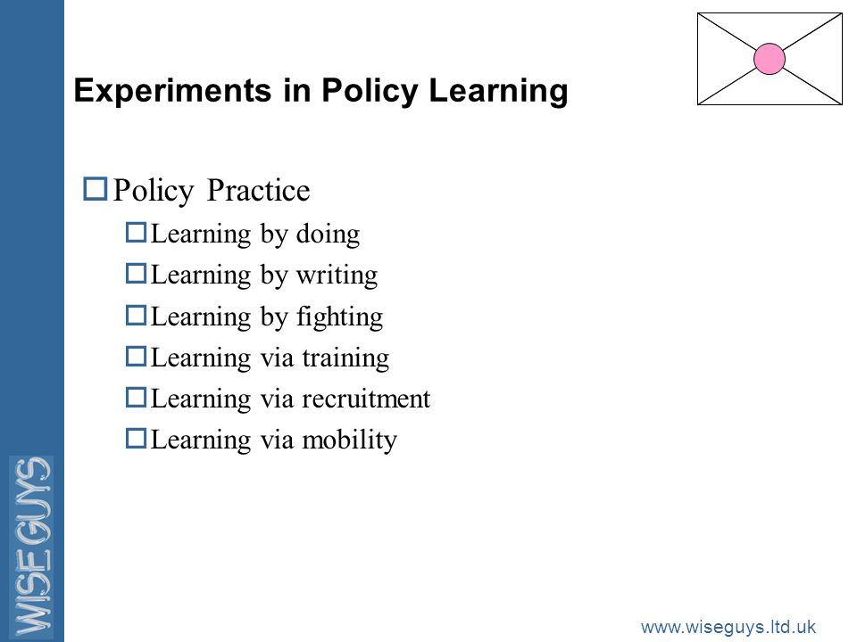 www.wiseguys.ltd.uk Experiments in Policy Learning oPolicy Practice oLearning by doing oLearning by writing oLearning by fighting oLearning via training oLearning via recruitment oLearning via mobility