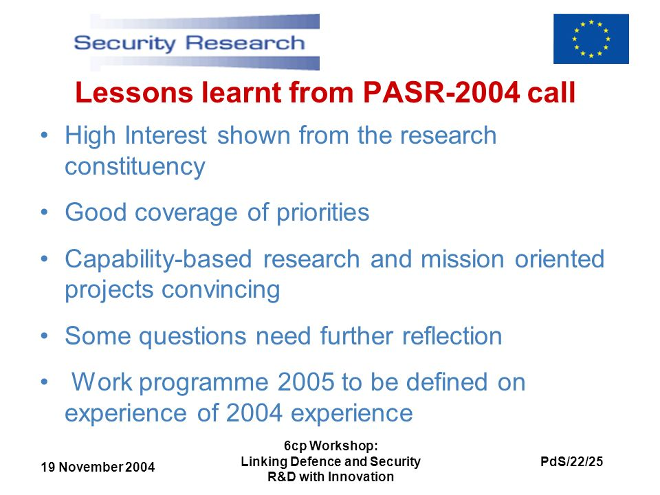 19 November 2004 PdS/22/25 6cp Workshop: Linking Defence and Security R&D with Innovation Lessons learnt from PASR-2004 call High Interest shown from
