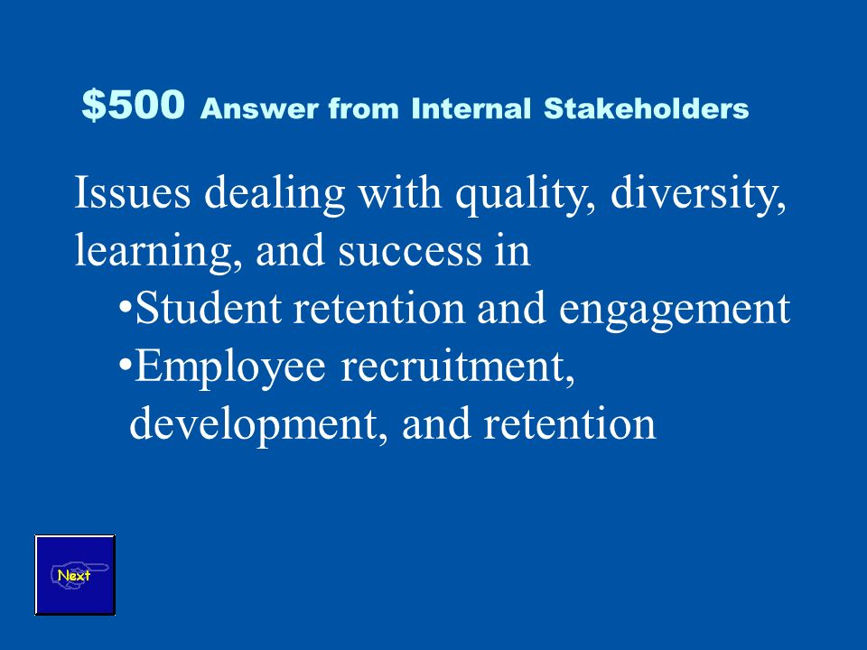 $500 Answer from Internal Stakeholders Issues dealing with quality, diversity, learning, and success in Student retention and engagement Employee recruitment, development, and retention
