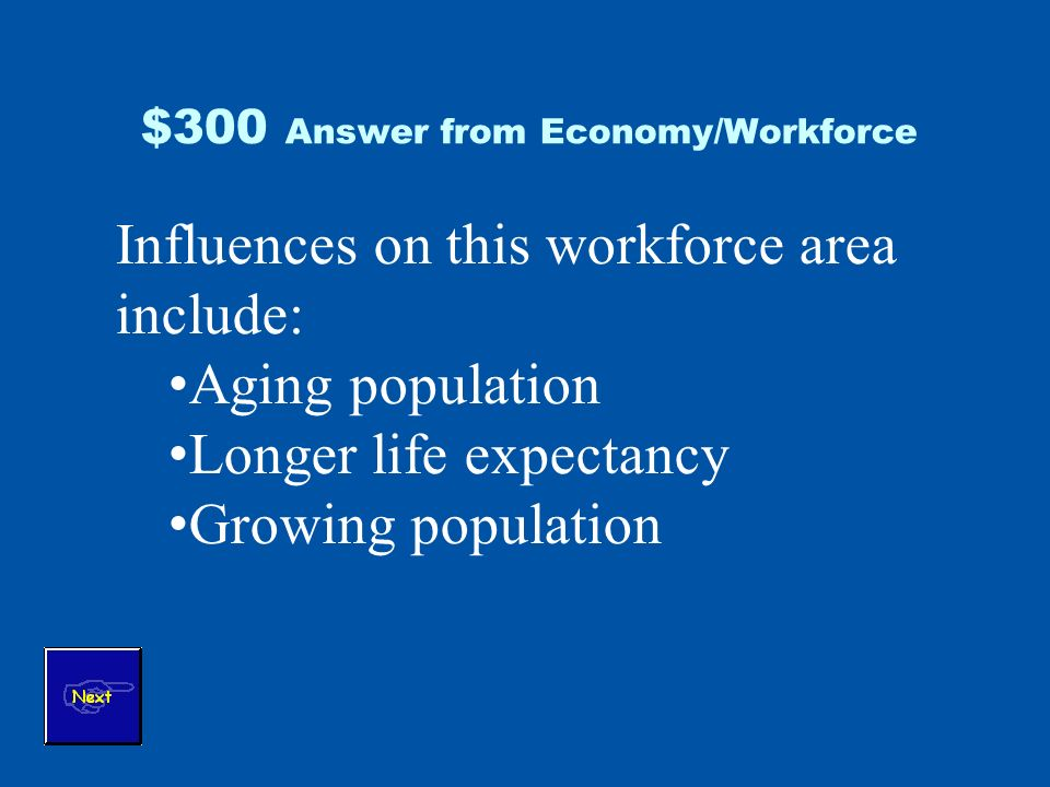 $300 Answer from Economy/Workforce Influences on this workforce area include: Aging population Longer life expectancy Growing population