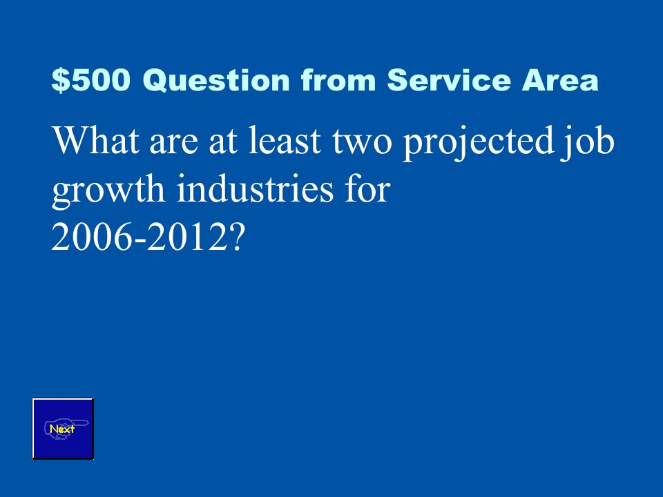 $500 Question from Service Area What are at least two projected job growth industries for 2006-2012