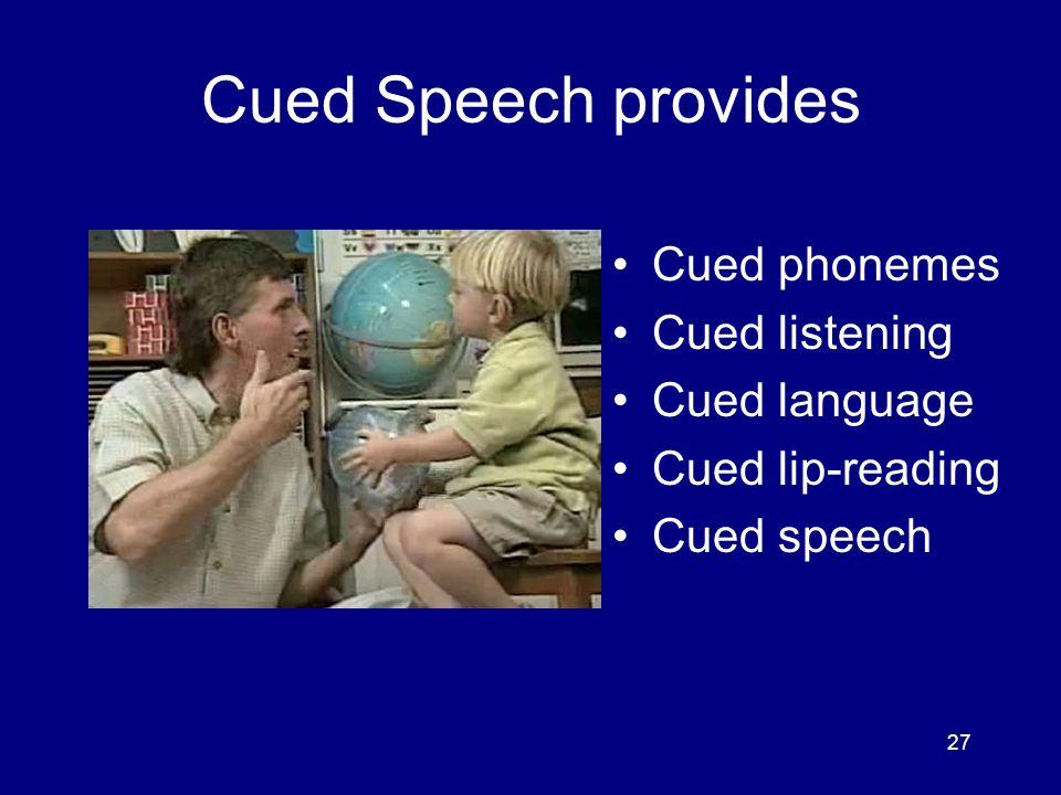 27 Cued Speech provides Cued phonemes Cued listening Cued language Cued lip-reading Cued speech