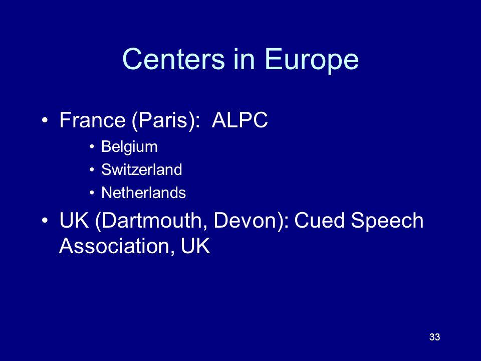 33 Centers in Europe France (Paris): ALPC Belgium Switzerland Netherlands UK (Dartmouth, Devon): Cued Speech Association, UK