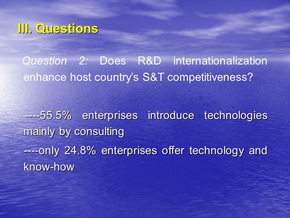 III. Questions Question 2: Does R&D internationalization enhance host countrys S&T competitiveness? ----55.5% enterprises introduce technologies mainl