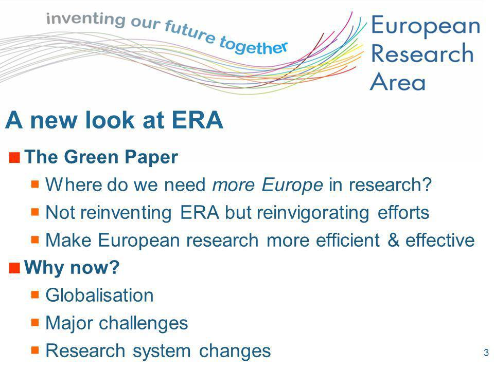 3 A new look at ERA The Green Paper Where do we need more Europe in research? Not reinventing ERA but reinvigorating efforts Make European research mo
