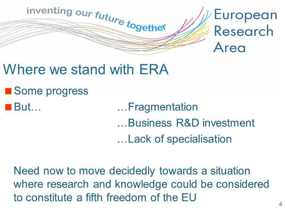 4 Where we stand with ERA Some progress But……Fragmentation …Business R&D investment …Lack of specialisation Need now to move decidedly towards a situa