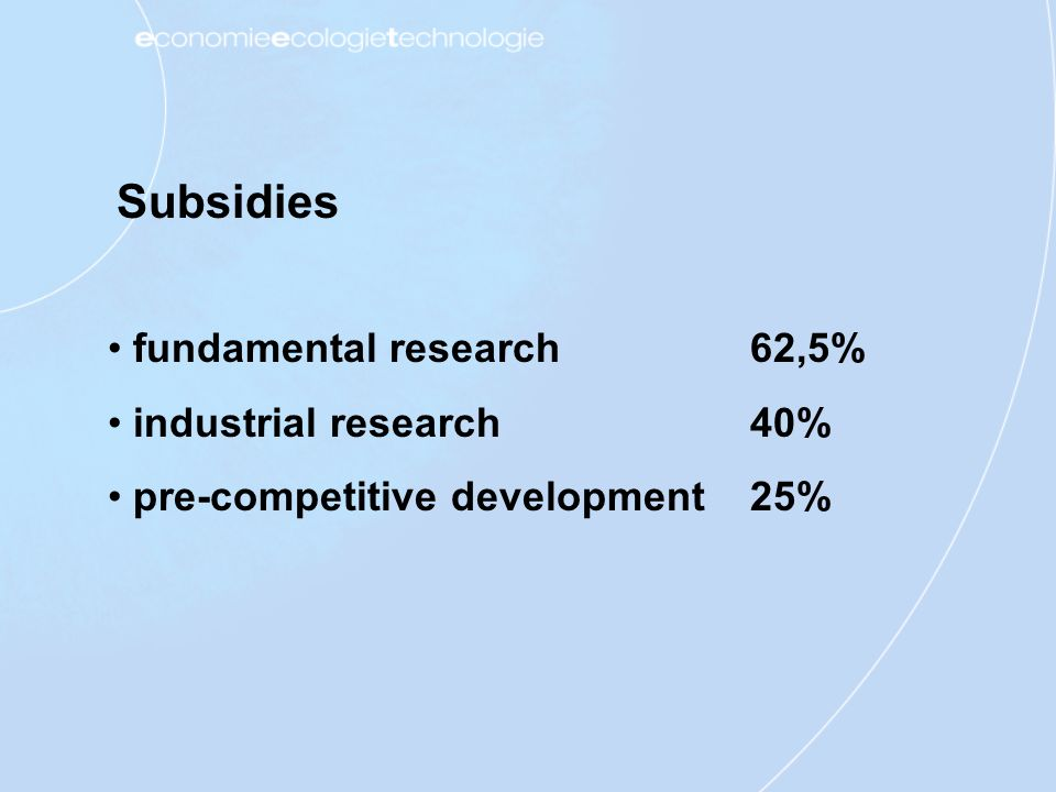 Subsidies fundamental research industrial research pre-competitive development 62,5% 40% 25%