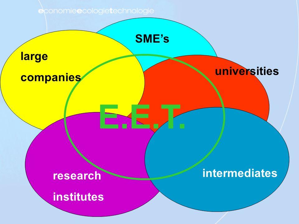 SMEs universities large companies intermediates research institutes E.E.T.