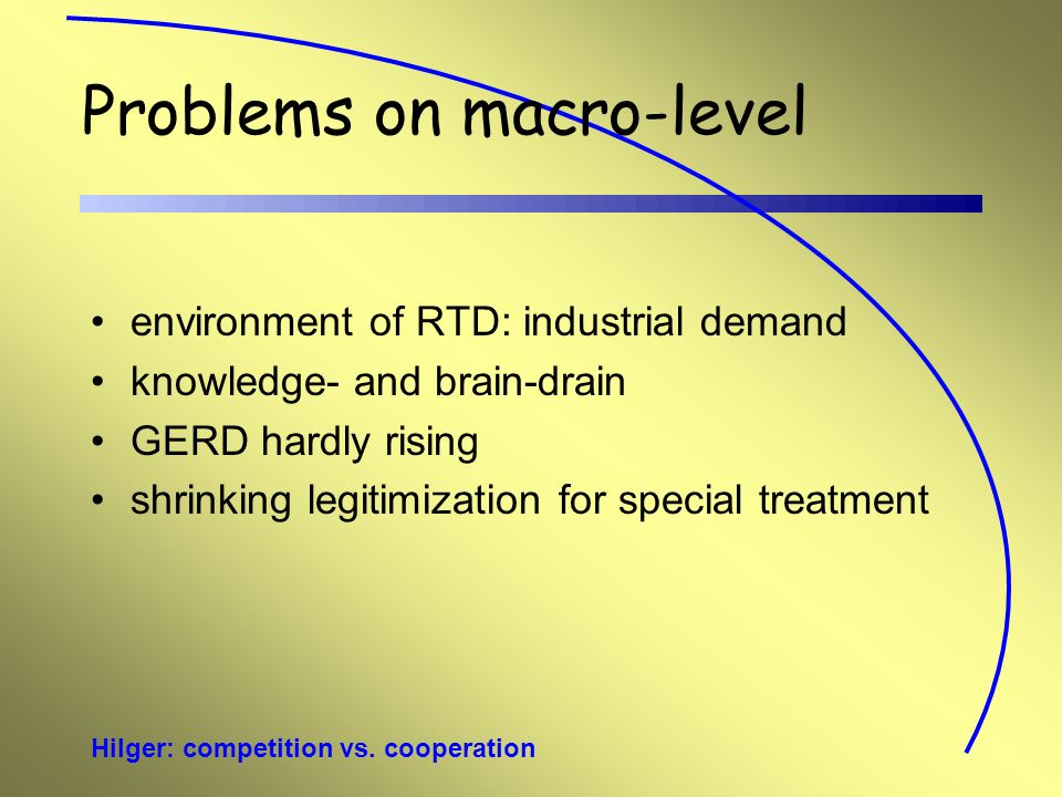 Hilger: competition vs. cooperation Problems on macro-level environment of RTD: industrial demand knowledge- and brain-drain GERD hardly rising shrink