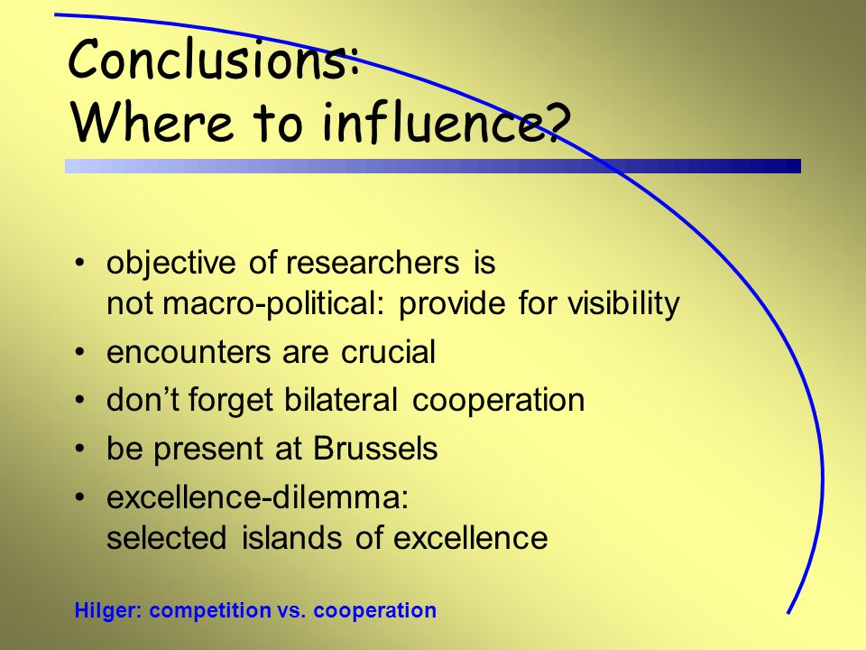 Hilger: competition vs. cooperation Conclusions: Where to influence.