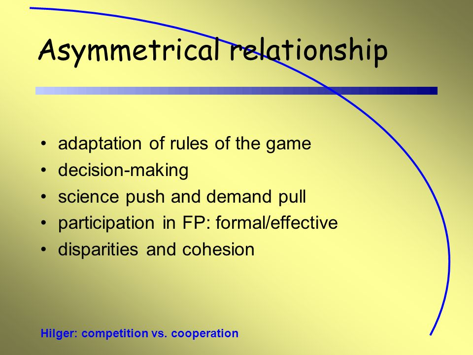Hilger: competition vs. cooperation Asymmetrical relationship adaptation of rules of the game decision-making science push and demand pull participati