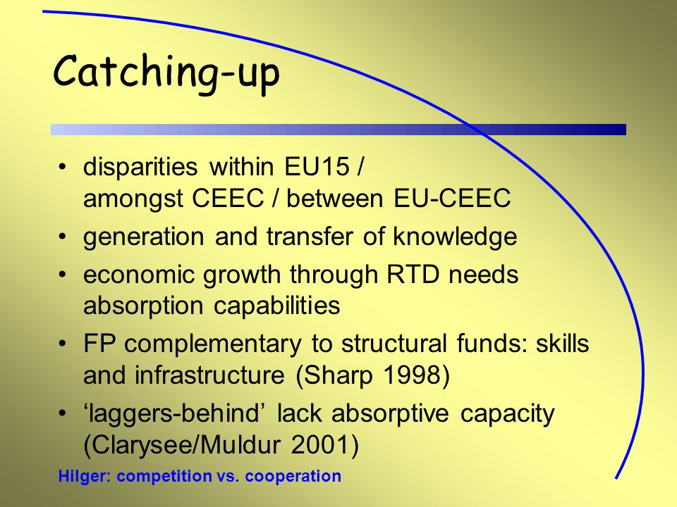 Hilger: competition vs. cooperation Catching-up disparities within EU15 / amongst CEEC / between EU-CEEC generation and transfer of knowledge economic